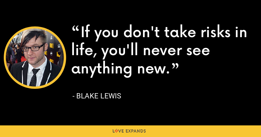 If you don't take risks in life, you'll never see anything new. - Blake Lewis