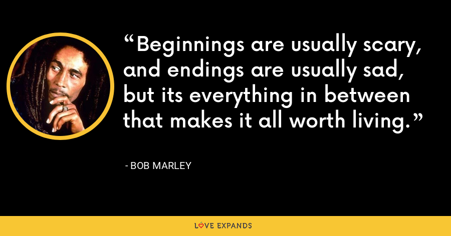 Beginnings are usually scary, and endings are usually sad, but its everything in between that makes it all worth living. - Bob Marley