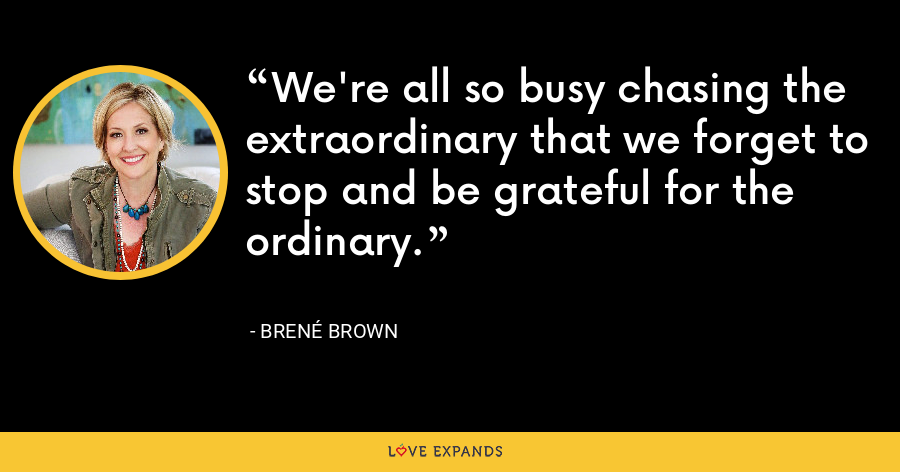 We're all so busy chasing the extraordinary that we forget to stop and be grateful for the ordinary. - Brene Brown