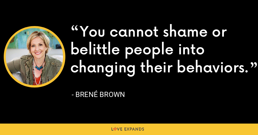 You cannot shame or belittle people into changing their behaviors. - Brene Brown