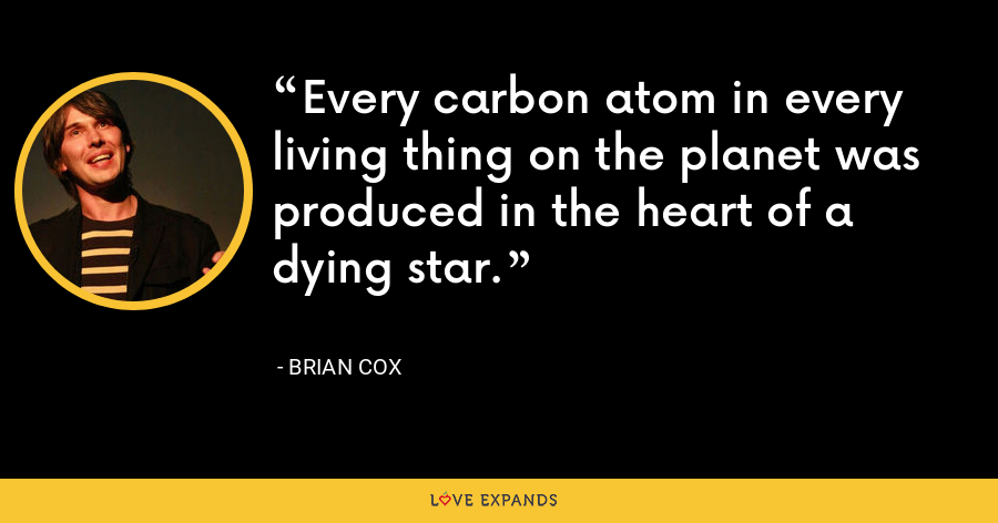 Every carbon atom in every living thing on the planet was produced in the heart of a dying star. - Brian Cox