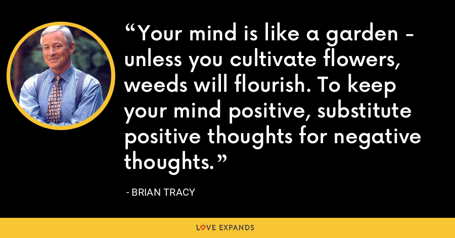 Your mind is like a garden - unless you cultivate flowers, weeds will flourish. To keep your mind positive, substitute positive thoughts for negative thoughts. - Brian Tracy