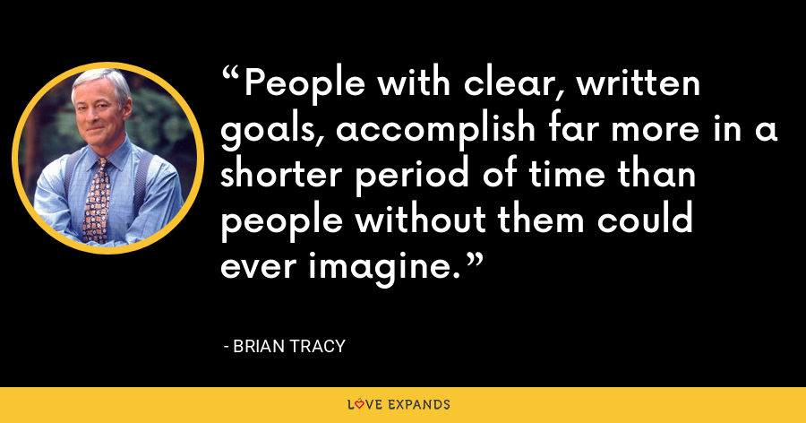 People with clear, written goals, accomplish far more in a shorter period of time than people without them could ever imagine. - Brian Tracy