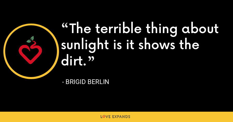 The terrible thing about sunlight is it shows the dirt. - Brigid Berlin