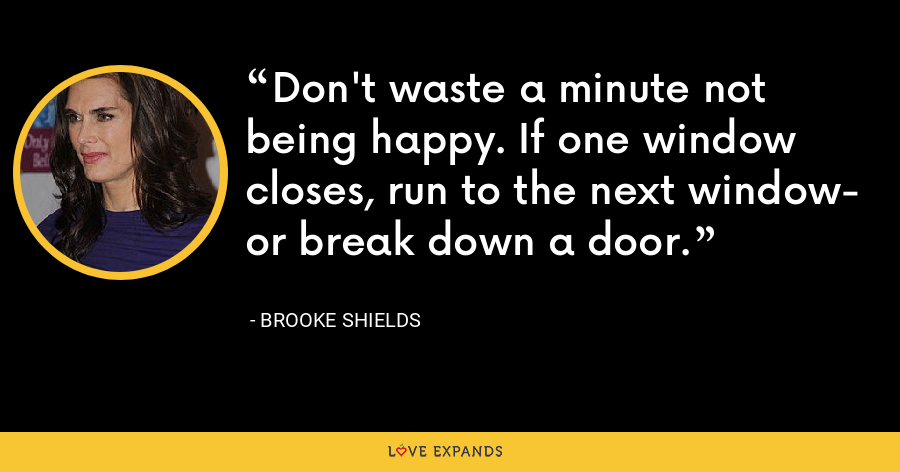 Don't waste a minute not being happy. If one window closes, run to the next window- or break down a door. - Brooke Shields