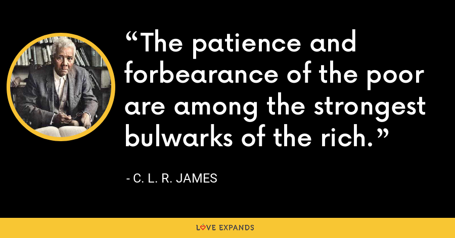 The patience and forbearance of the poor are among the strongest bulwarks of the rich. - C. L. R. James
