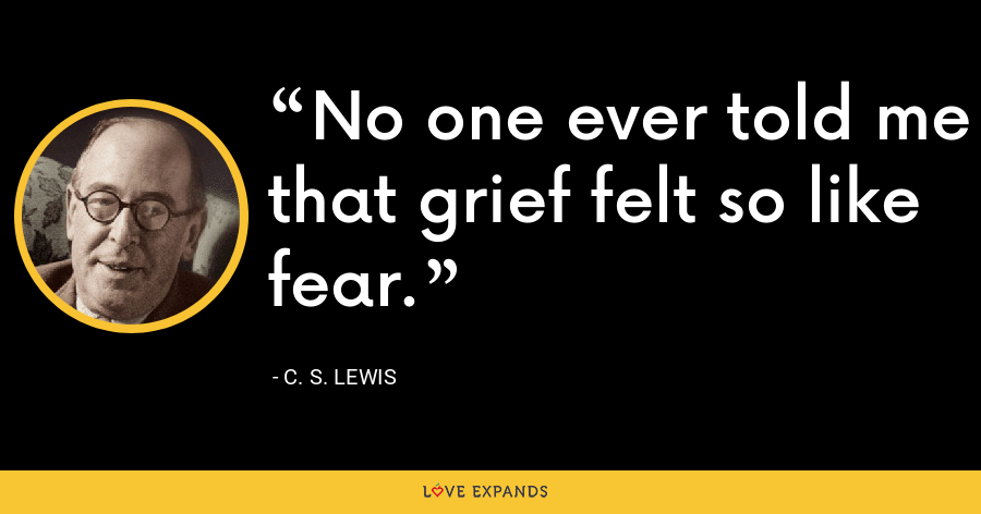 No one ever told me that grief felt so like fear. - C. S. Lewis