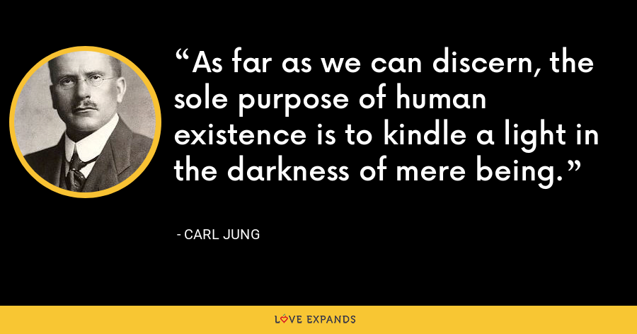 As far as we can discern, the sole purpose of human existence is to kindle a light in the darkness of mere being. - Carl Jung