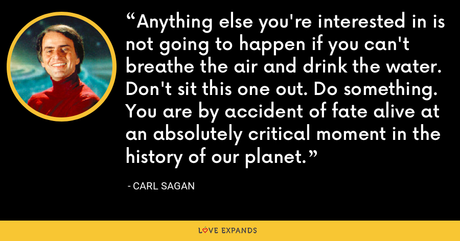 Anything else you're interested in is not going to happen if you can't breathe the air and drink the water. Don't sit this one out. Do something. You are by accident of fate alive at an absolutely critical moment in the history of our planet. - Carl Sagan
