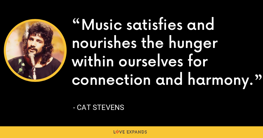 Music satisfies and nourishes the hunger within ourselves for connection and harmony. - Cat Stevens
