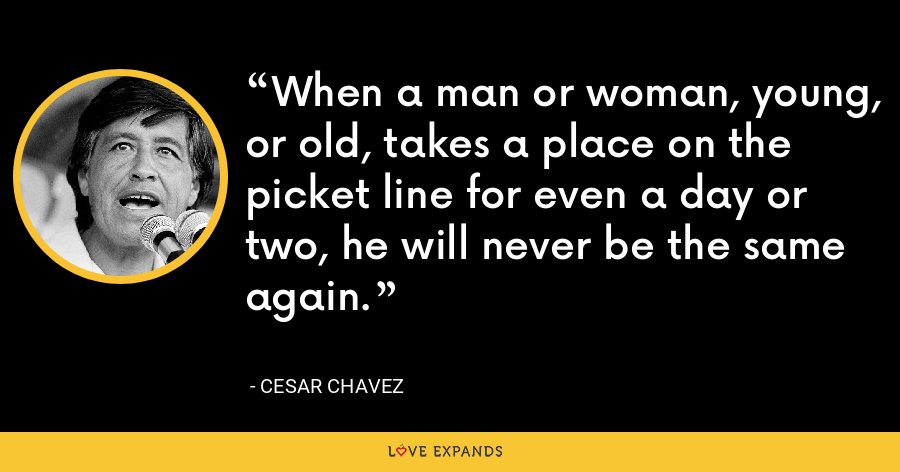When a man or woman, young, or old, takes a place on the picket line for even a day or two, he will never be the same again. - Cesar Chavez