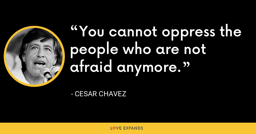 You cannot oppress the people who are not afraid anymore. - Cesar Chavez