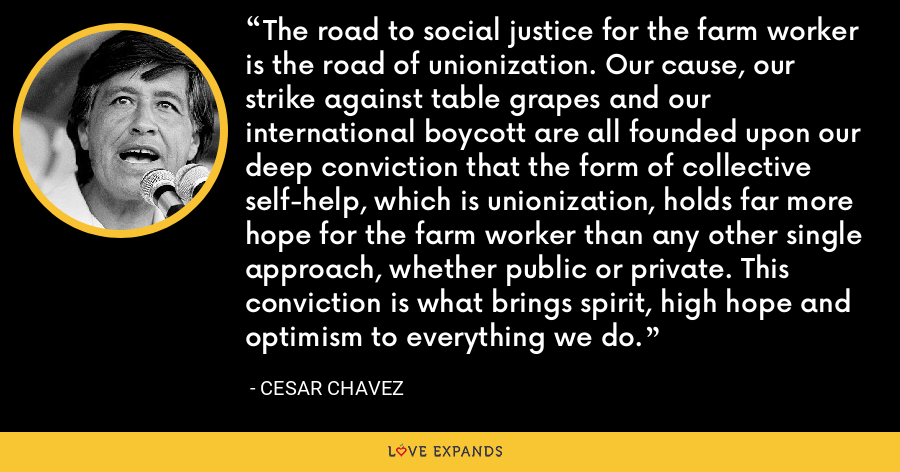 The road to social justice for the farm worker is the road of unionization. Our cause, our strike against table grapes and our international boycott are all founded upon our deep conviction that the form of collective self-help, which is unionization, holds far more hope for the farm worker than any other single approach, whether public or private. This conviction is what brings spirit, high hope and optimism to everything we do. - Cesar Chavez
