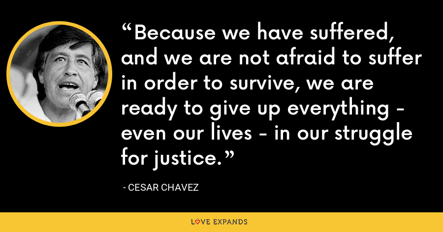 Because we have suffered, and we are not afraid to suffer in order to survive, we are ready to give up everything - even our lives - in our struggle for justice. - Cesar Chavez