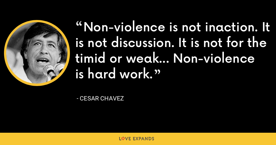Non-violence is not inaction. It is not discussion. It is not for the timid or weak... Non-violence is hard work. - Cesar Chavez