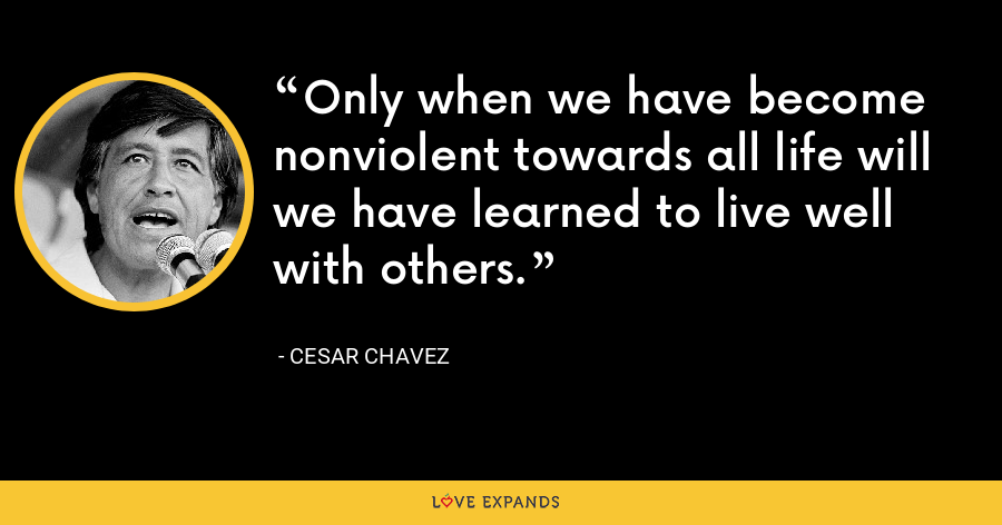 Only when we have become nonviolent towards all life will we have learned to live well with others. - Cesar Chavez