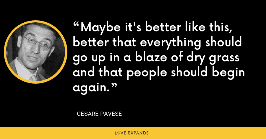 Maybe it's better like this, better that everything should go up in a blaze of dry grass and that people should begin again. - Cesare Pavese