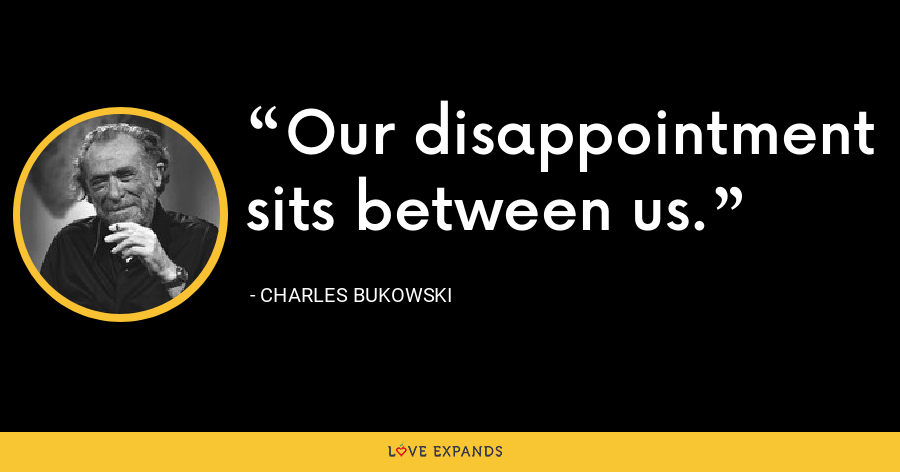 Our disappointment sits between us. - Charles Bukowski