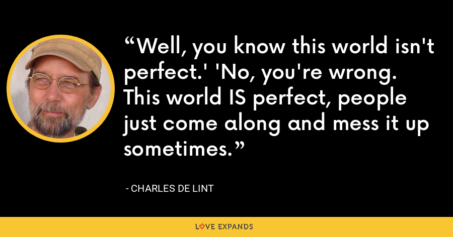 Well, you know this world isn't perfect.' 'No, you're wrong. This world IS perfect, people just come along and mess it up sometimes. - charles de lint