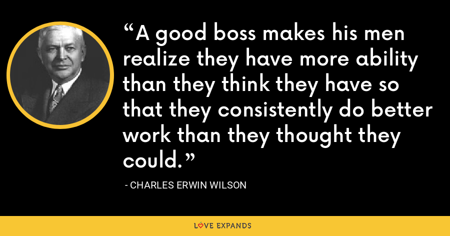 A good boss makes his men realize they have more ability than they think they have so that they consistently do better work than they thought they could. - Charles Erwin Wilson