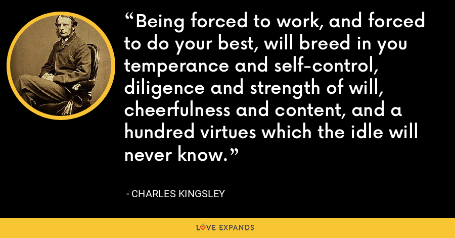 Being forced to work, and forced to do your best, will breed in you temperance and self-control, diligence and strength of will, cheerfulness and content, and a hundred virtues which the idle will never know. - Charles Kingsley