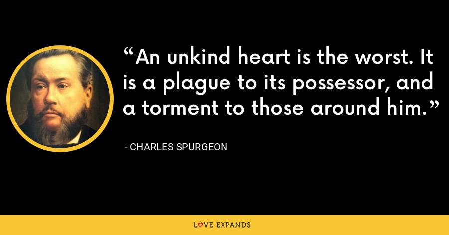 An unkind heart is the worst. It is a plague to its possessor, and a torment to those around him. - Charles Spurgeon