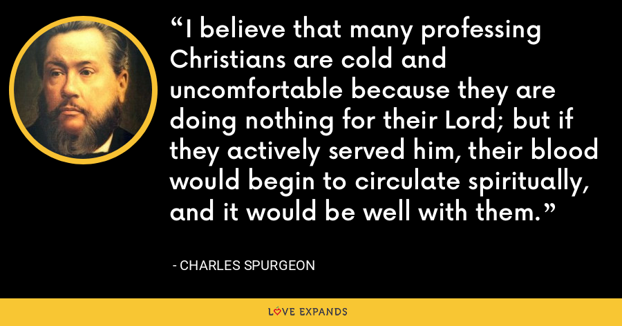 I believe that many professing Christians are cold and uncomfortable because they are doing nothing for their Lord; but if they actively served him, their blood would begin to circulate spiritually, and it would be well with them. - Charles Spurgeon