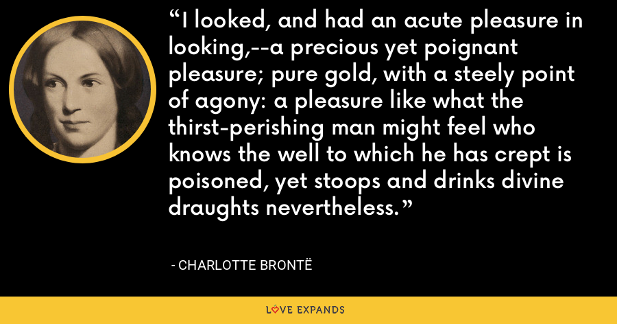 I looked, and had an acute pleasure in looking,--a precious yet poignant pleasure; pure gold, with a steely point of agony: a pleasure like what the thirst-perishing man might feel who knows the well to which he has crept is poisoned, yet stoops and drinks divine draughts nevertheless. - Charlotte Brontë