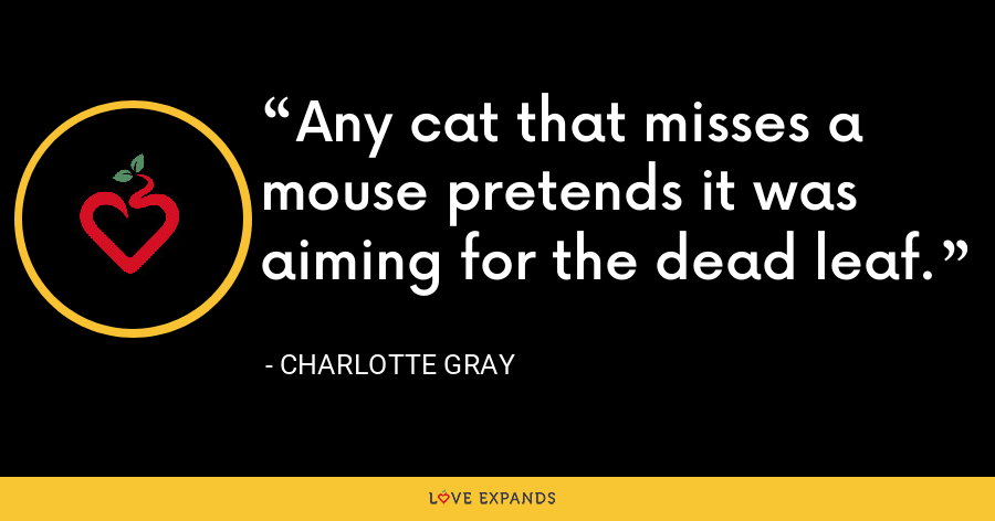 Any cat that misses a mouse pretends it was aiming for the dead leaf. - Charlotte Gray