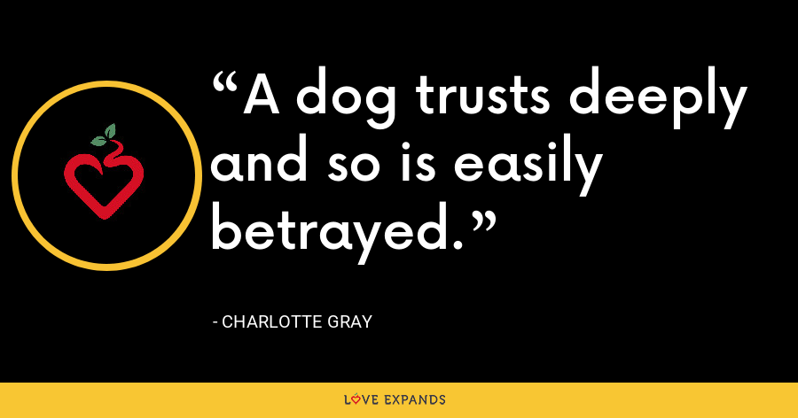 A dog trusts deeply and so is easily betrayed. - Charlotte Gray