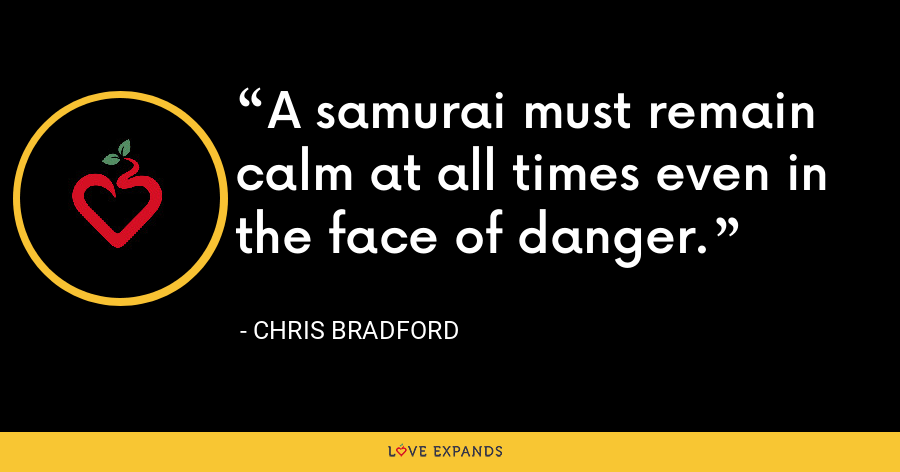 A samurai must remain calm at all times even in the face of danger. - Chris Bradford