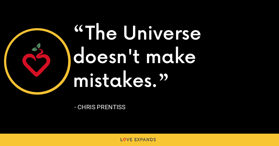 The Universe doesn't make mistakes. - Chris Prentiss