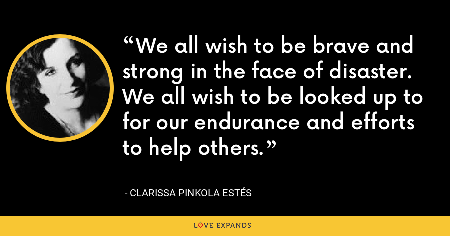 We all wish to be brave and strong in the face of disaster. We all wish to be looked up to for our endurance and efforts to help others. - Clarissa Pinkola Estés