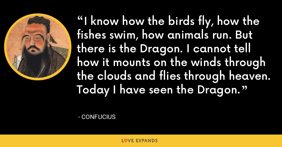 I know how the birds fly, how the fishes swim, how animals run. But there is the Dragon. I cannot tell how it mounts on the winds through the clouds and flies through heaven. Today I have seen the Dragon. - Confucius