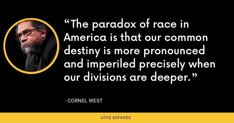 The paradox of race in America is that our common destiny is more pronounced and imperiled precisely when our divisions are deeper. - Cornel West