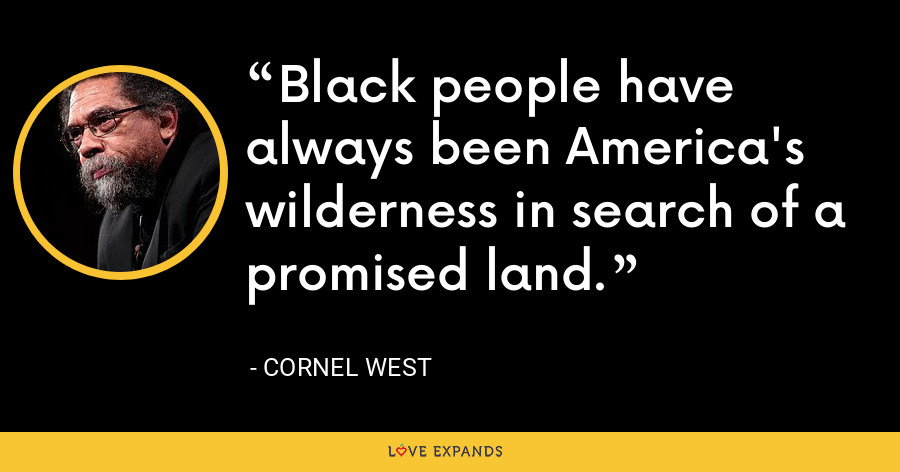 Black people have always been America's wilderness in search of a promised land. - Cornel West