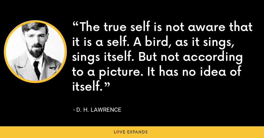 The true self is not aware that it is a self. A bird, as it sings, sings itself. But not according to a picture. It has no idea of itself. - D. H. Lawrence