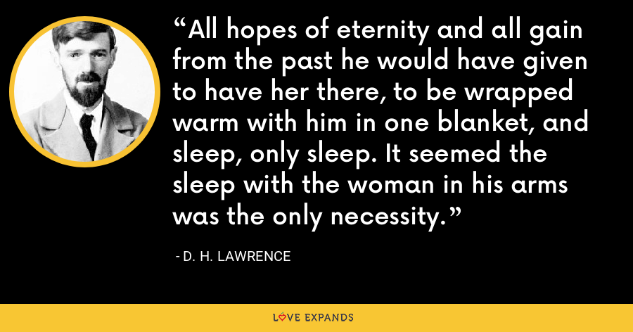 All hopes of eternity and all gain from the past he would have given to have her there, to be wrapped warm with him in one blanket, and sleep, only sleep. It seemed the sleep with the woman in his arms was the only necessity. - D. H. Lawrence