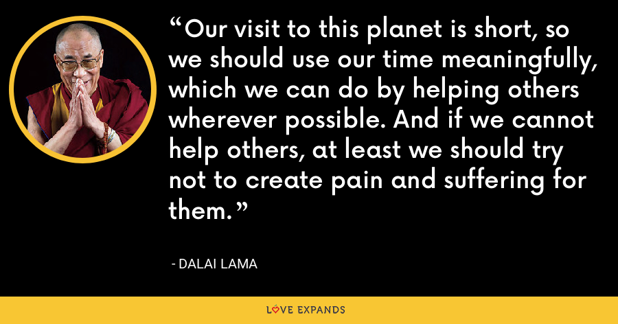 Our visit to this planet is short, so we should use our time meaningfully, which we can do by helping others wherever possible. And if we cannot help others, at least we should try not to create pain and suffering for them. - Dalai Lama