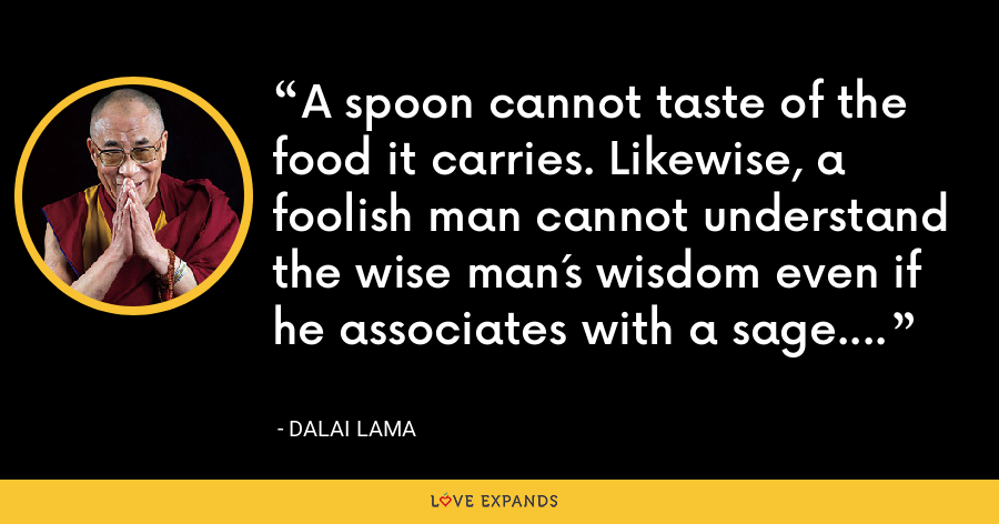 A spoon cannot taste of the food it carries. Likewise, a foolish man cannot understand the wise man´s wisdom even if he associates with a sage. - Dalai Lama