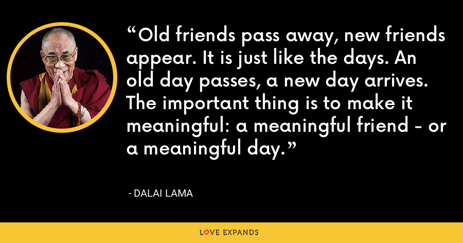 Old friends pass away, new friends appear. It is just like the days. An old day passes, a new day arrives. The important thing is to make it meaningful: a meaningful friend - or a meaningful day. - Dalai Lama