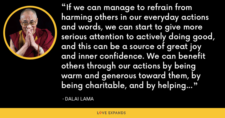 If we can manage to refrain from harming others in our everyday actions and words, we can start to give more serious attention to actively doing good, and this can be a source of great joy and inner confidence. We can benefit others through our actions by being warm and generous toward them, by being charitable, and by helping those in need. - Dalai Lama