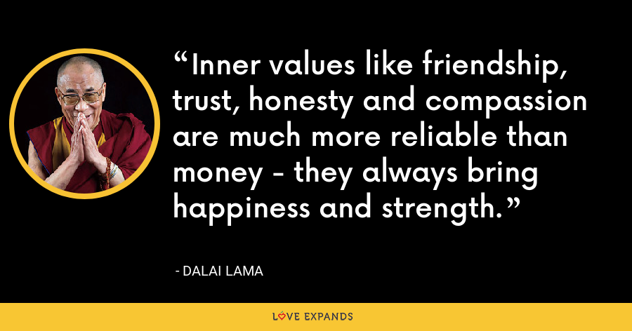 Inner values like friendship, trust, honesty and compassion are much more reliable than money - they always bring happiness and strength. - Dalai Lama