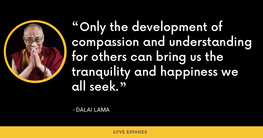Only the development of compassion and understanding for others can bring us the tranquility and happiness we all seek. - Dalai Lama