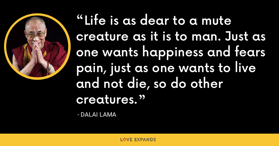 Life is as dear to a mute creature as it is to man. Just as one wants happiness and fears pain, just as one wants to live and not die, so do other creatures. - Dalai Lama
