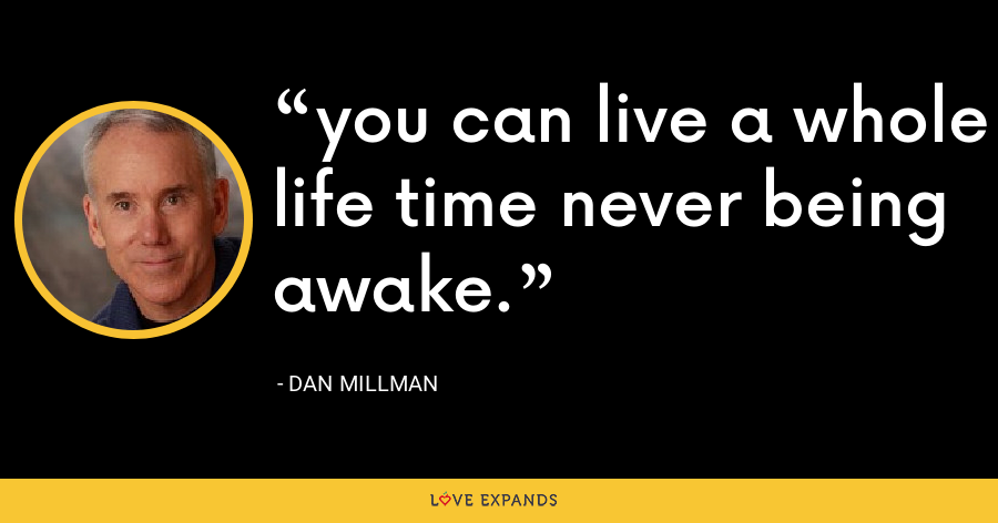you can live a whole life time never being awake. - Dan Millman
