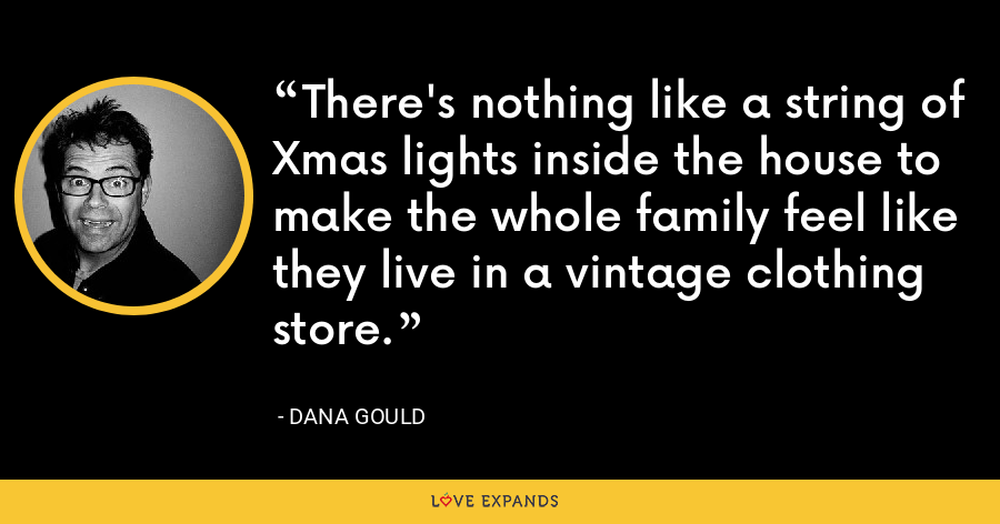 There's nothing like a string of Xmas lights inside the house to make the whole family feel like they live in a vintage clothing store. - Dana Gould
