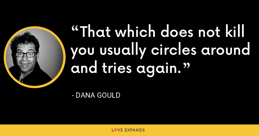 That which does not kill you usually circles around and tries again. - Dana Gould