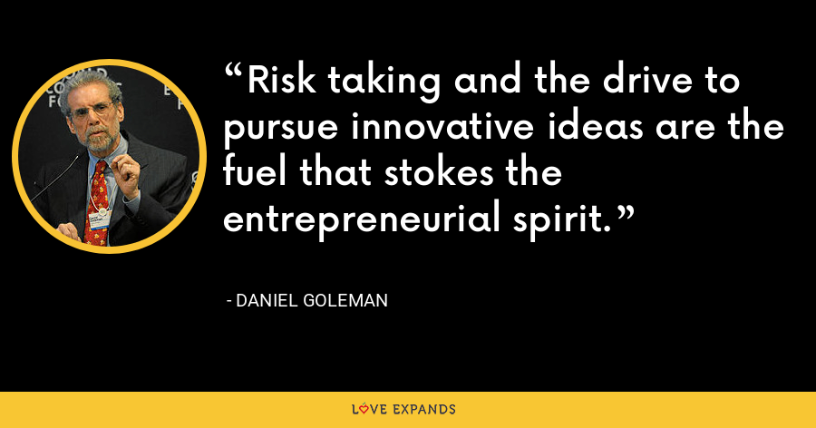 Risk taking and the drive to pursue innovative ideas are the fuel that stokes the entrepreneurial spirit. - Daniel Goleman