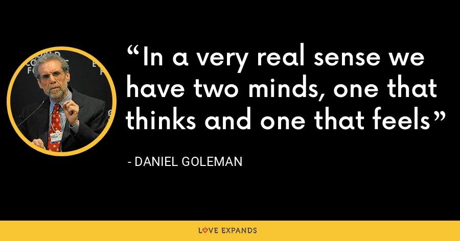 In a very real sense we have two minds, one that thinks and one that feels - Daniel Goleman